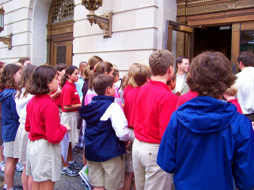 Christ Methodist Day School students eagerly await a tour of the grand old building.